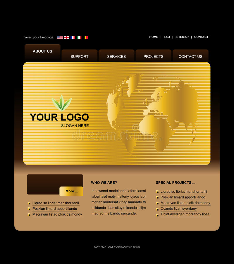 Website Template. Easy to use in adobe flah or illustrator to export it as a website, just edit or replace text and add your sub pages