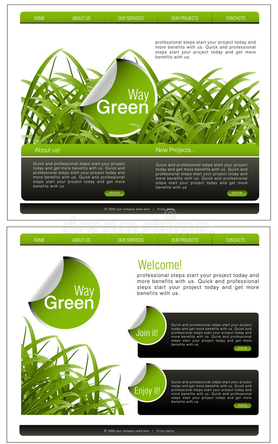Website Template. Vector Website template, Home and interior page, easy to use and edit