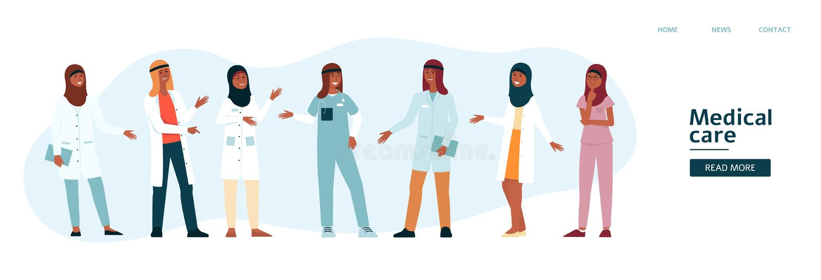 Website template with arabian medical team cartoon style royalty free illustration