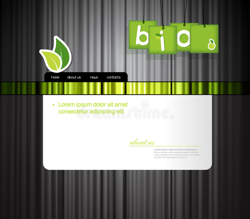 Website template with bio sign. Vector art stock illustration