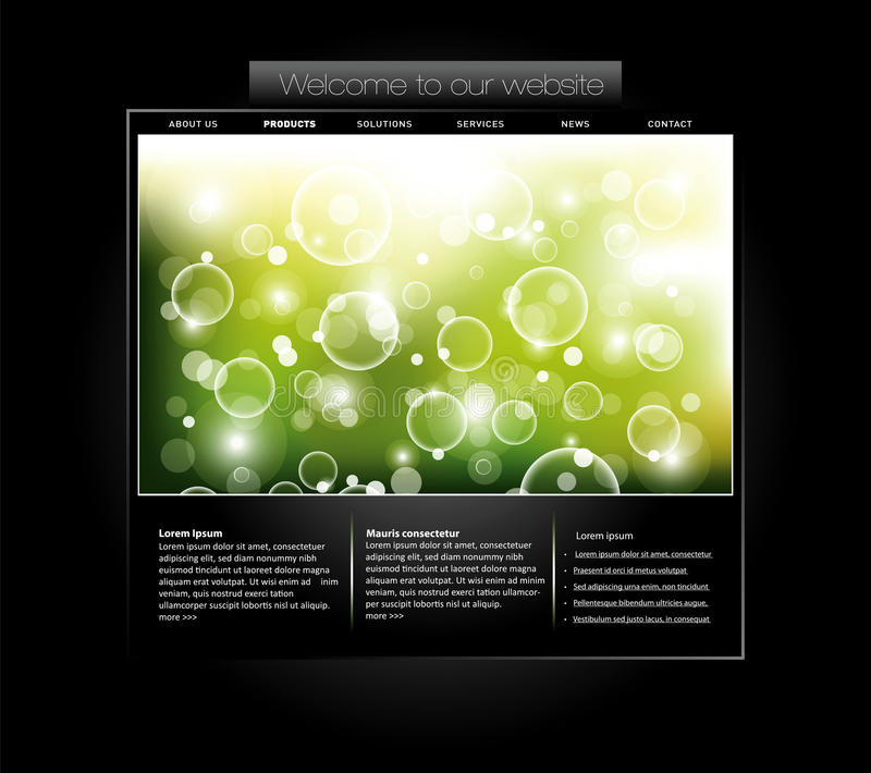 Website template with bubbled banner stock illustration
