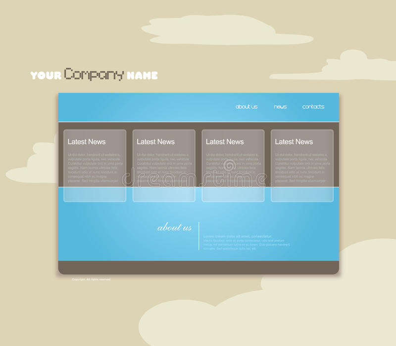 Website template with clouds. stock illustration