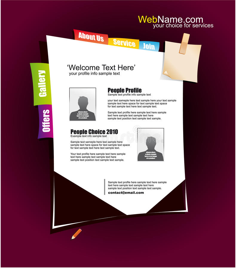 Website Template With Colorful Design Elements Stock Images