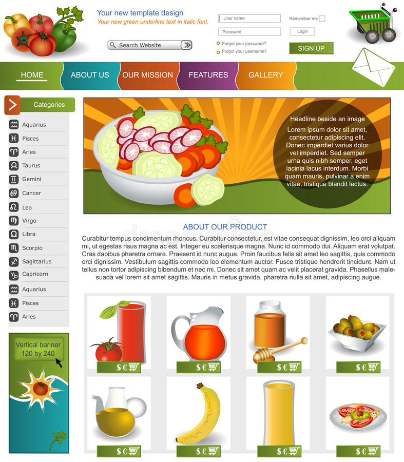 Website template 9. Website template design along with icons and images. vegetable related vector illustration