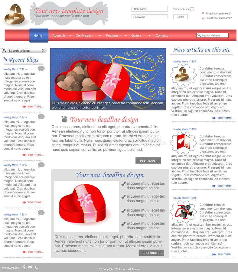 Website template 3. Website template design along with icons and images. Wedding related royalty free illustration