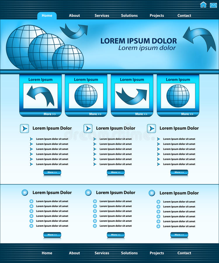 Website template design blue vector illustration
