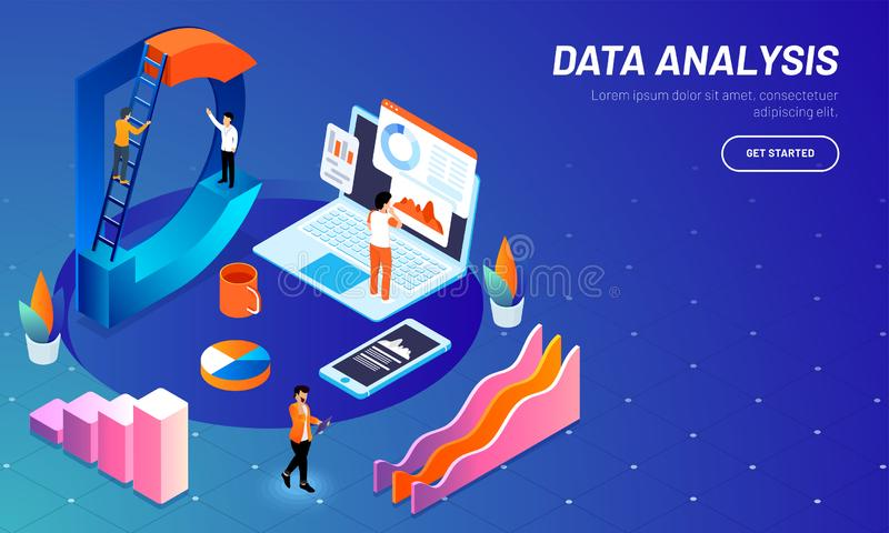 Website template design with 3D letter D, miniature people maintain data, analytics analysis stats with bar graph on shiny blue b vector illustration