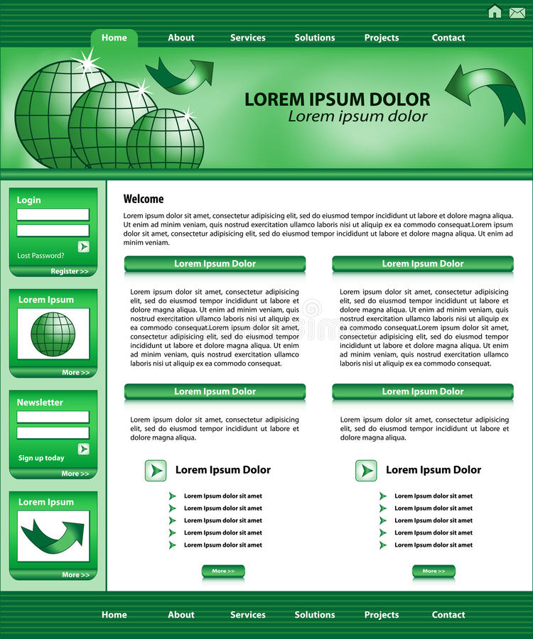 Website template design green stock illustration