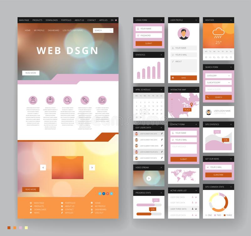 Website template design with interface elements. Bokeh defocused backgrounds. Vector illustration vector illustration
