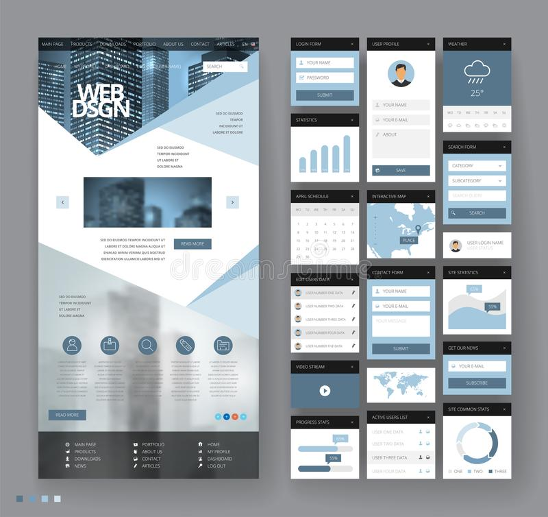 Website template design with interface elements. Business city backgrounds. Vector illustration stock illustration