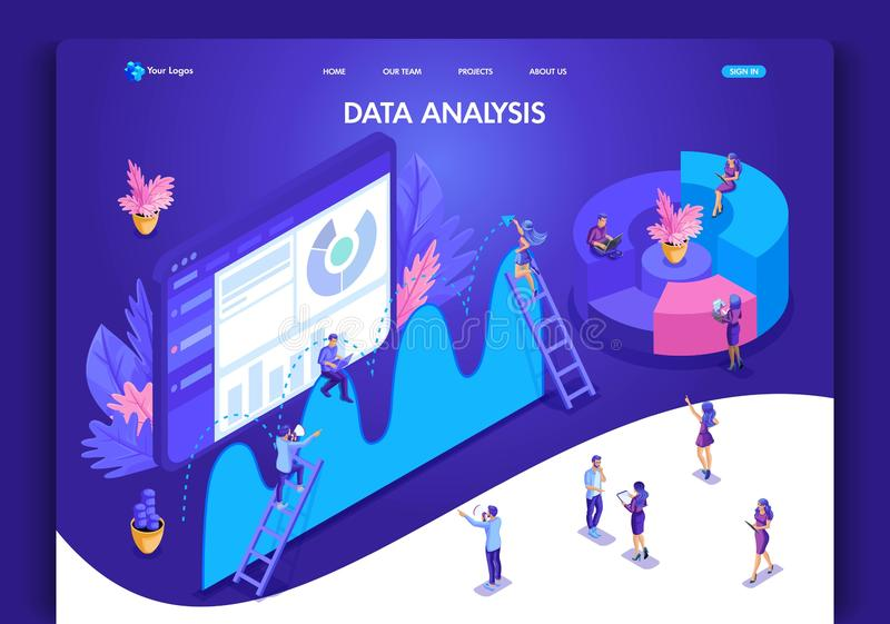 Website template design. Isometric concept for landing page. Data analysis concept with characters. Easy to edit and customize. Ui ux royalty free illustration