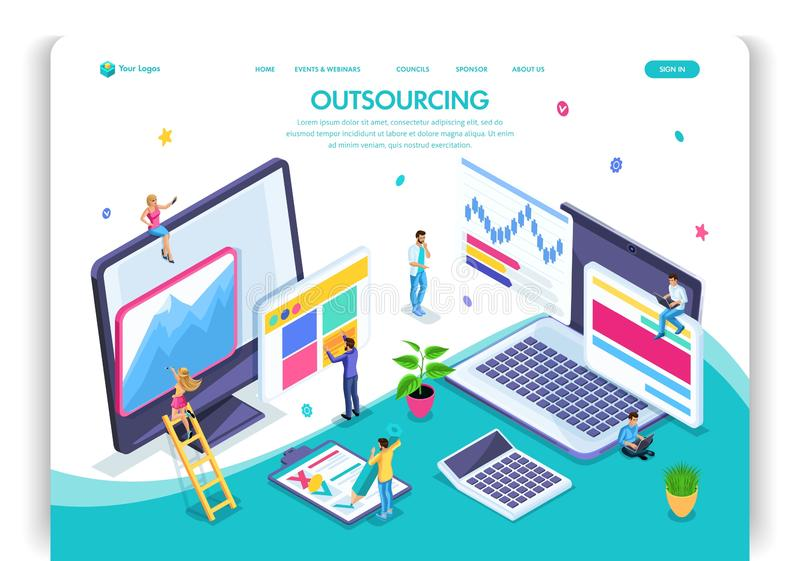 Website template design. Isometric concept Outsourcing. Hiring a remote employee, designer, programmer, copywriter. Easy to edit and customize landing page, ui vector illustration