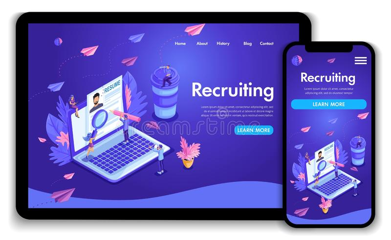 Website template design. Isometric concept Recruiting. Job agency human resources creative find experience royalty free illustration