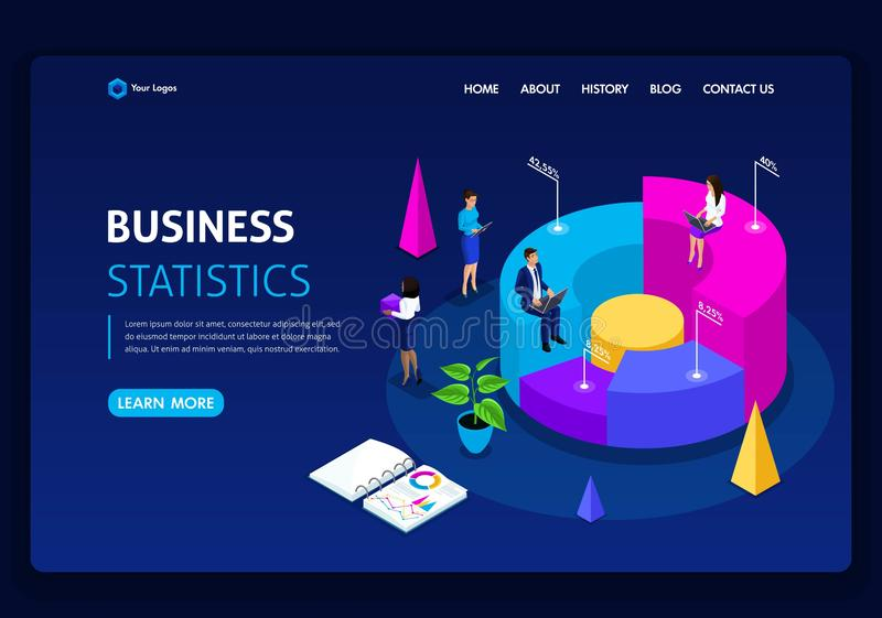 Website template design. Isometric concept work Consulting company for performance, analysis. Statistics and business statement stock illustration