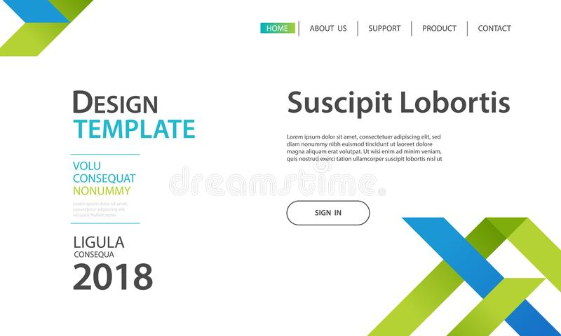 Website template design and landing page geometric shapes background. Vector illustration for apps royalty free illustration