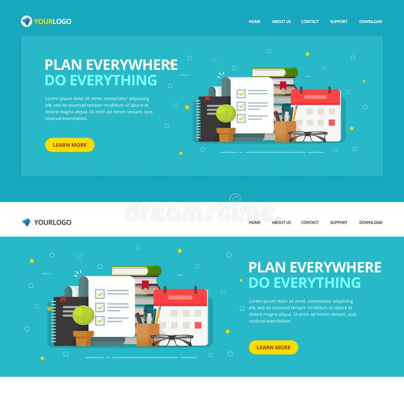 Website template design to do or check list service vector illustration, flat cartoon web site landing page with vector illustration