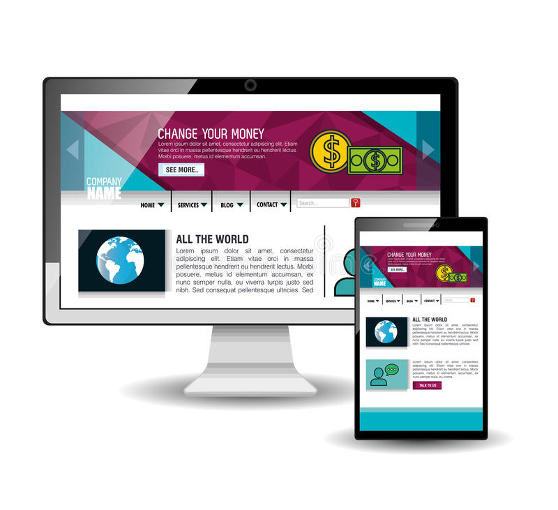 Website template in electronic devices. Vector illustration design vector illustration