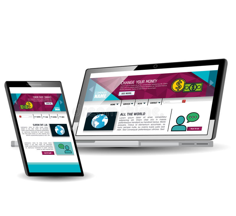 Website template in electronic devices. Vector illustration design royalty free illustration