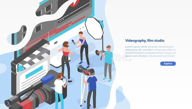 Website template with group of people shooting video and place for text. Videography service or film production studio. Trendy colorful isometric vector royalty free illustration