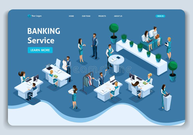 Website Template Landing page Isometric concept banking service, customer service, bank site, credit cards. Easy to edit. And customize stock illustration