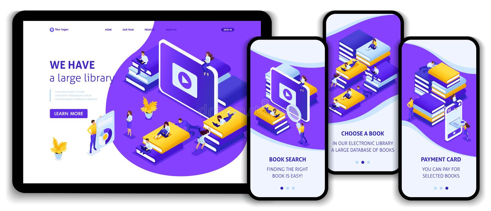 Isometric Concept for E-Learning, Education. Website Template Landing page Isometric concept choose the right your book in our library for your E-learning vector illustration