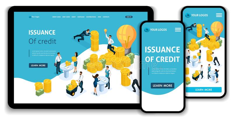 Website Template Landing page Isometric concept Issuance of credit, customer service in bank, Service hall, bank clints stock illustration