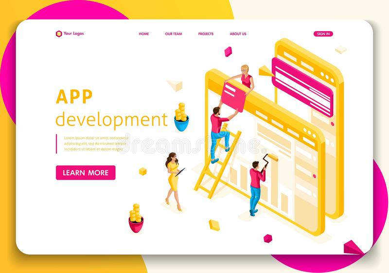 Website Template Landing page Isometric concept People team work together in web industry. App development stock illustration
