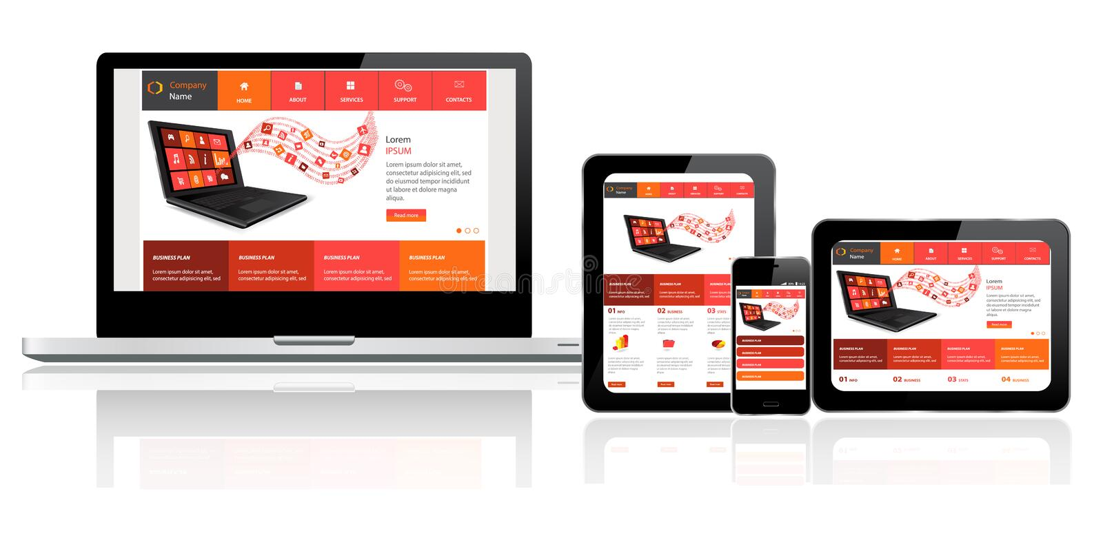 Website template on multiple devices stock illustration