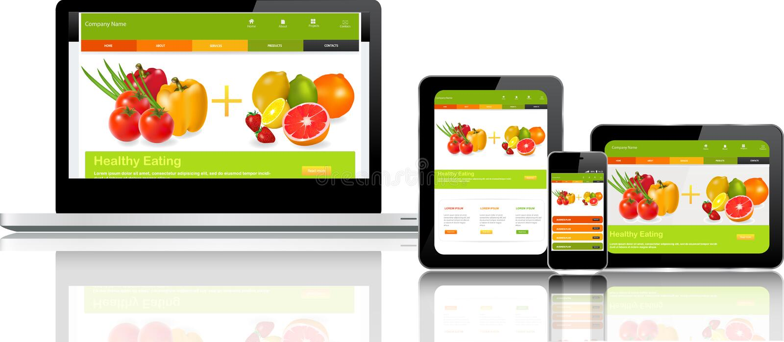 Website template on multiple devices vector illustration
