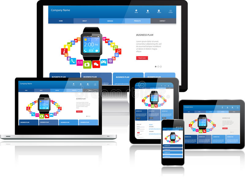 Website template on multiple devices. Responsive website template on multiple devices royalty free illustration