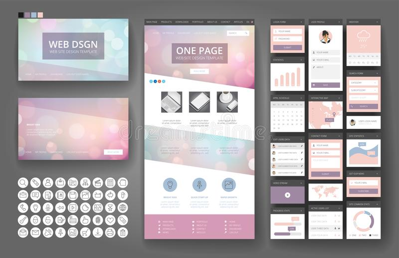 Website design template and interface elements. Website template, one page design, headers and interface elements. Bokeh defocused backgrounds stock illustration