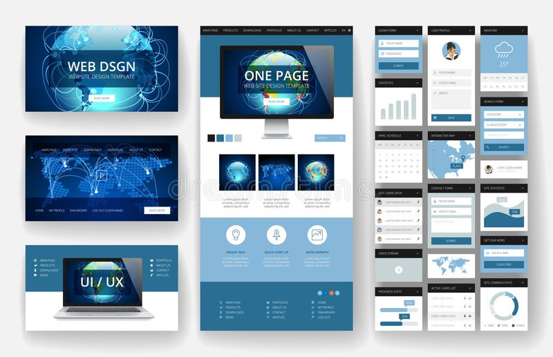 Website design template and interface elements. Website template, one page design, headers and interface elements. Global business technology connections vector illustration
