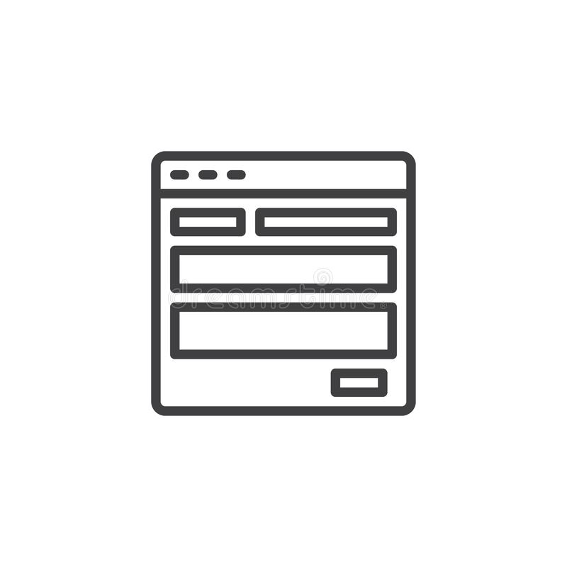 Website template outline icon stock illustration