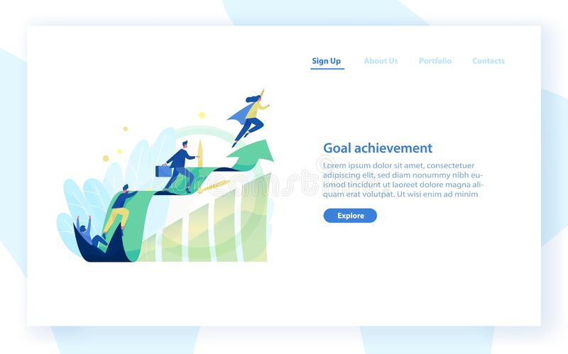 Website template with people, office workers, managers or clerks climbing on ascending graph or trend. Business goal. Achievement, career growth and development stock illustration