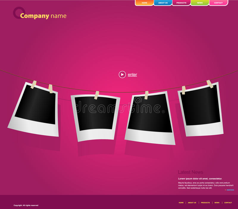 Download Website Template With Photos. Stock Vector - Image: 13142336