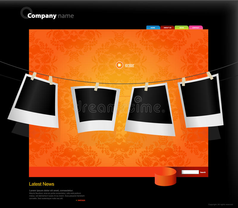 Website Template With Photos. Stock Image