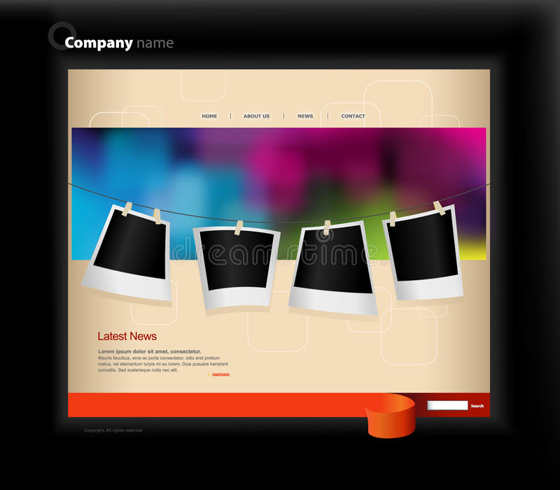 Download Website Template With Photos. Stock Vector - Image: 13329767