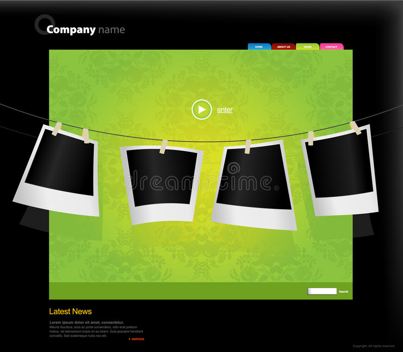 Download Website Template With Photos. Stock Vector - Image: 13656200