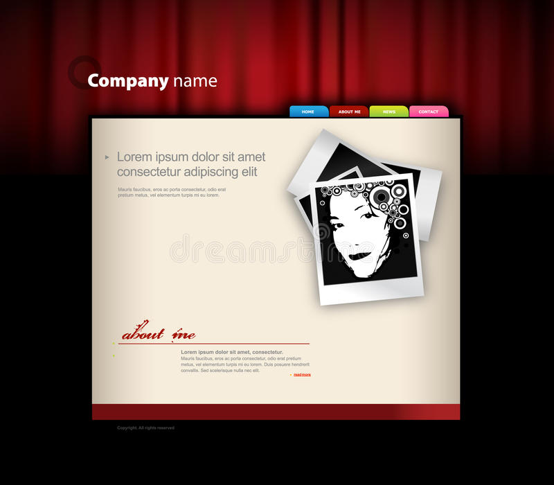 Download Website Template With Red Curtain. Stock Vector - Image: 13329846