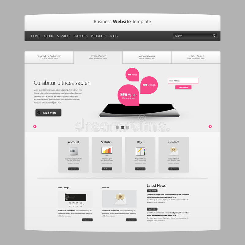 Website Template Vector Design, Modern Clean Style Stock Vector ...