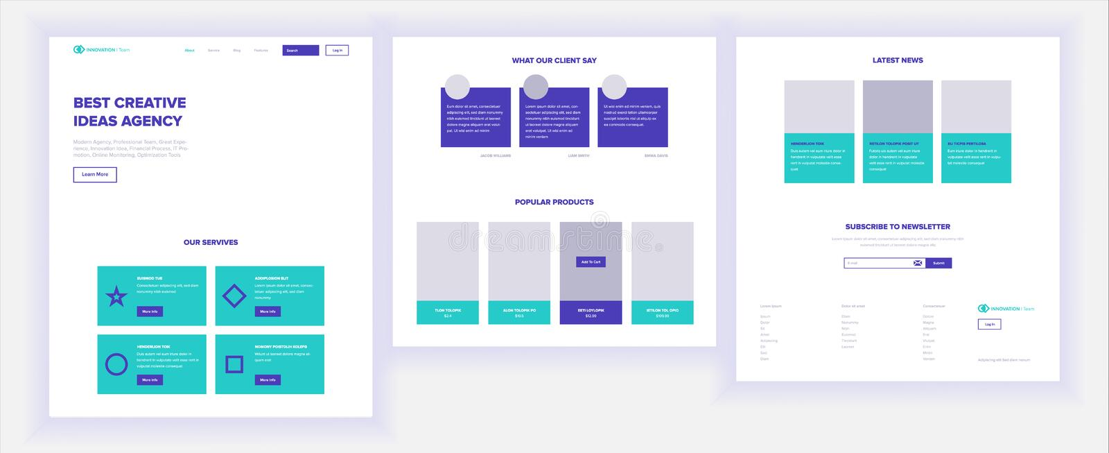 Website Template Vector. Page Business Background. Shopping Online Landing Web Page. Web Design And Development. Design royalty free illustration