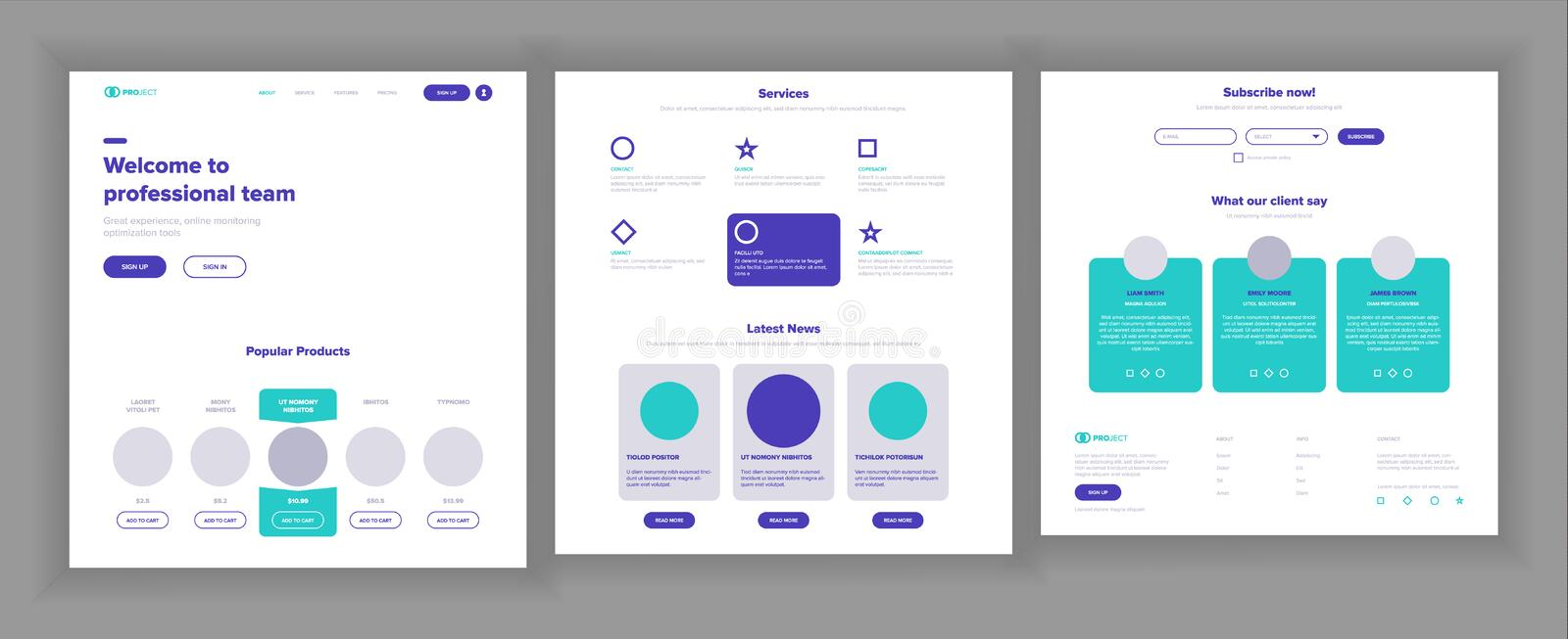 Website Template Vector. Page Business Interface. Landing Web Page. Responsive Ux Design. Responsive Blank. Finance. Website Template Vector. Page Business royalty free illustration