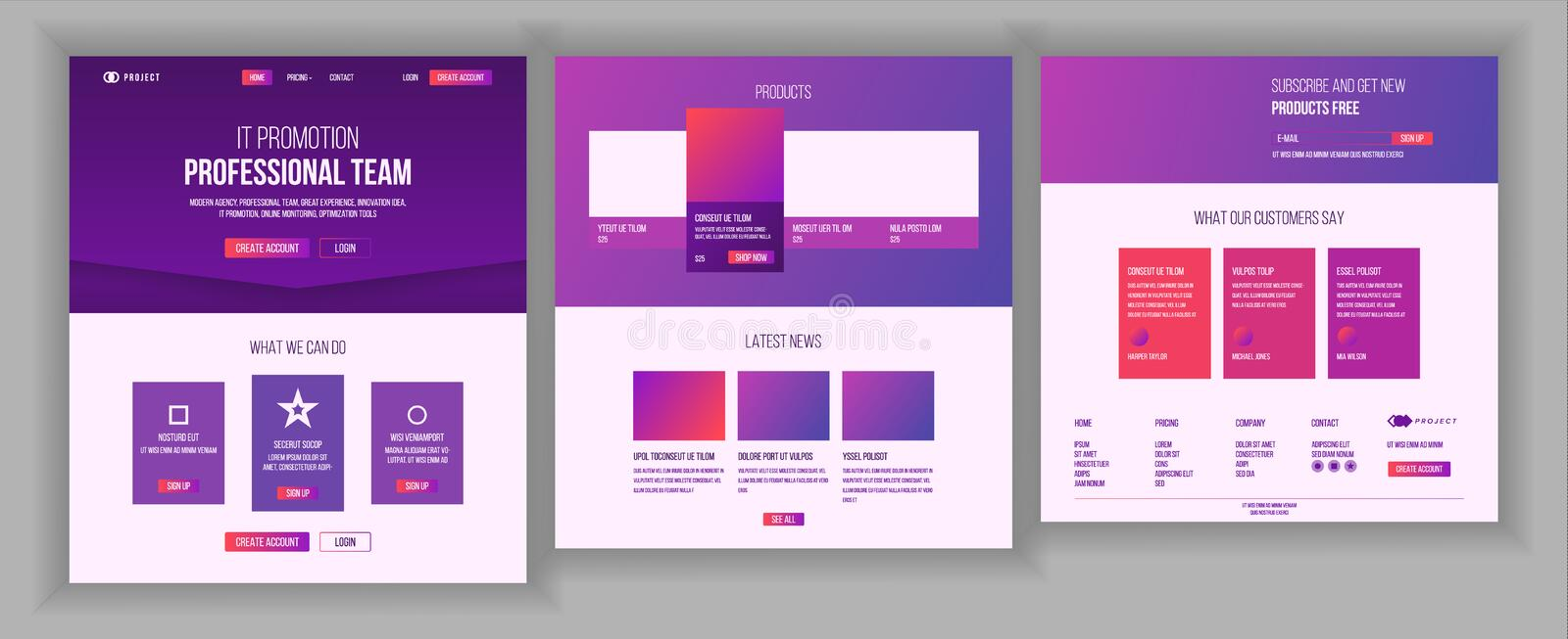 Website Template Vector. Page Business Landing. Web Page. Responsive Design Interface. Brainstorming Communication. Website Template Vector. Page Business stock illustration