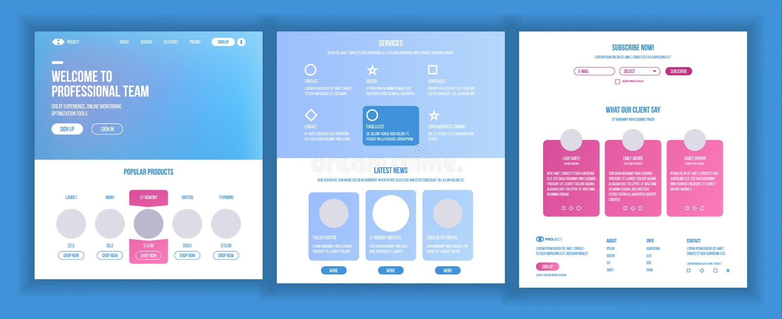 Website Template Vector. Page Business Interface. Landing Web Page. Responsive Ux Design. Opportunity Form. Finance. Website Template Vector. Page Business royalty free illustration