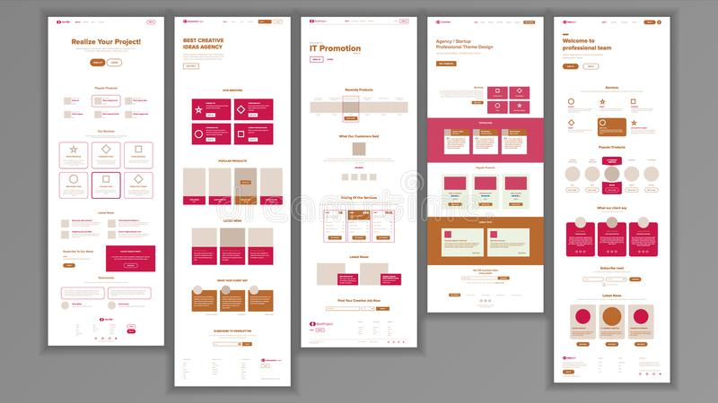 Website Template Vector. Page Business Landing. Shopping Online Web Page. People Environment. Creativity Construction. Website Template Vector. Page Business royalty free illustration
