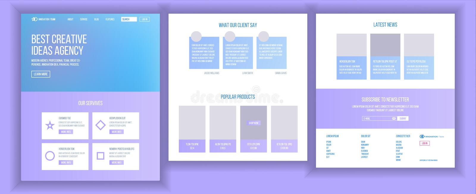 Website Template Vector. Page Business Landing. Web Page. Responsive Design Interface. Brainstorming Communication. Website Template Vector. Page Business royalty free illustration