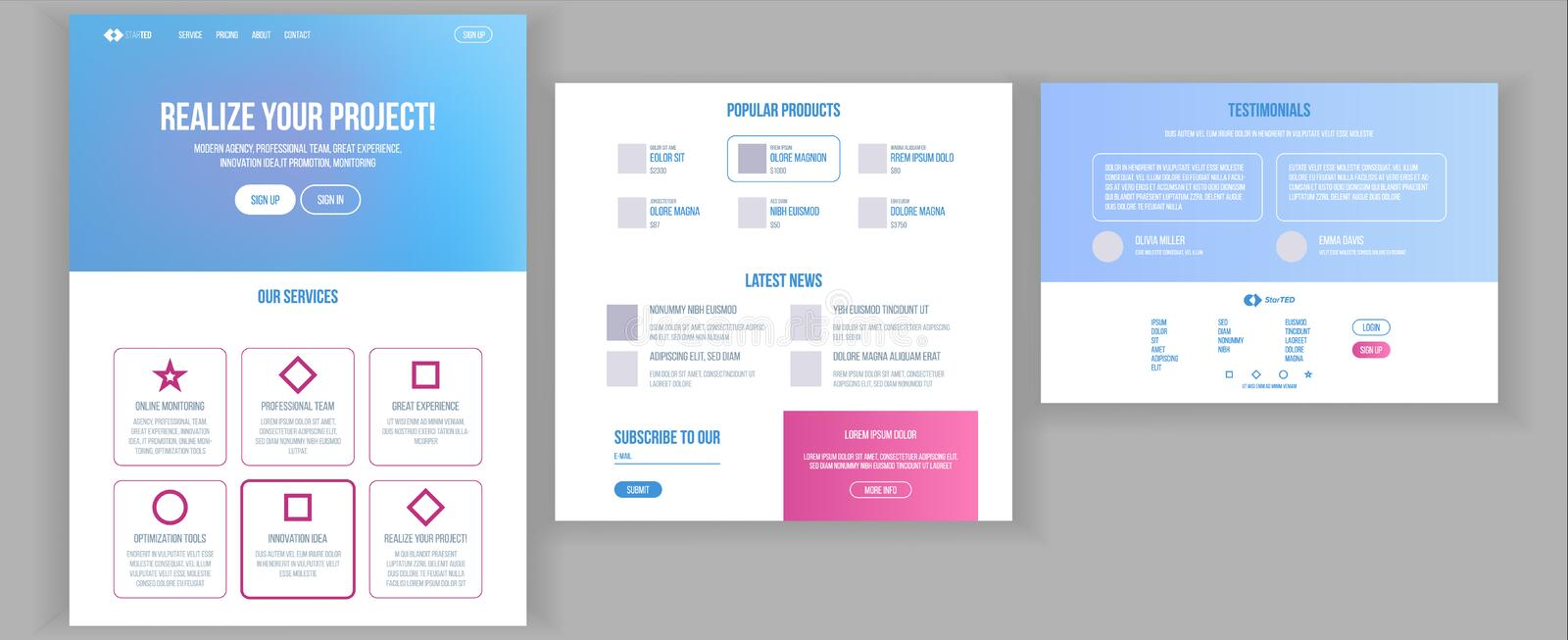 Website Template Vector. Page Business Technology. Landing Web Page. Creative Modern Layout. Payment Plan. Engineering stock illustration