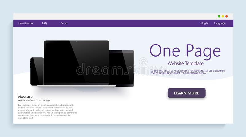 Website template for websites, or apps. Modern devices mockups fpr your business projects. webtemplates included. vector illustration