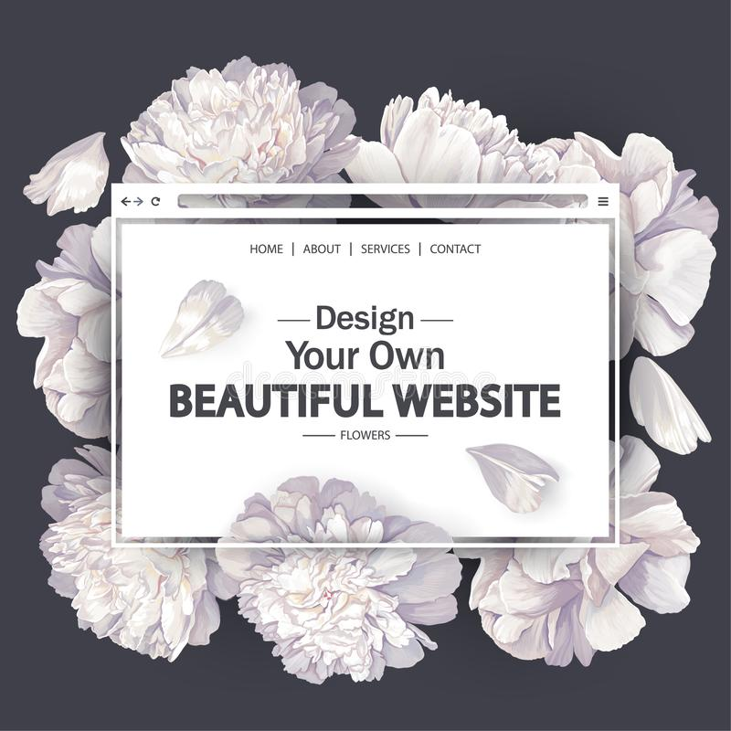 Template for landing page, mobile website, web page with blooming white peony flowers and petals. vector illustration