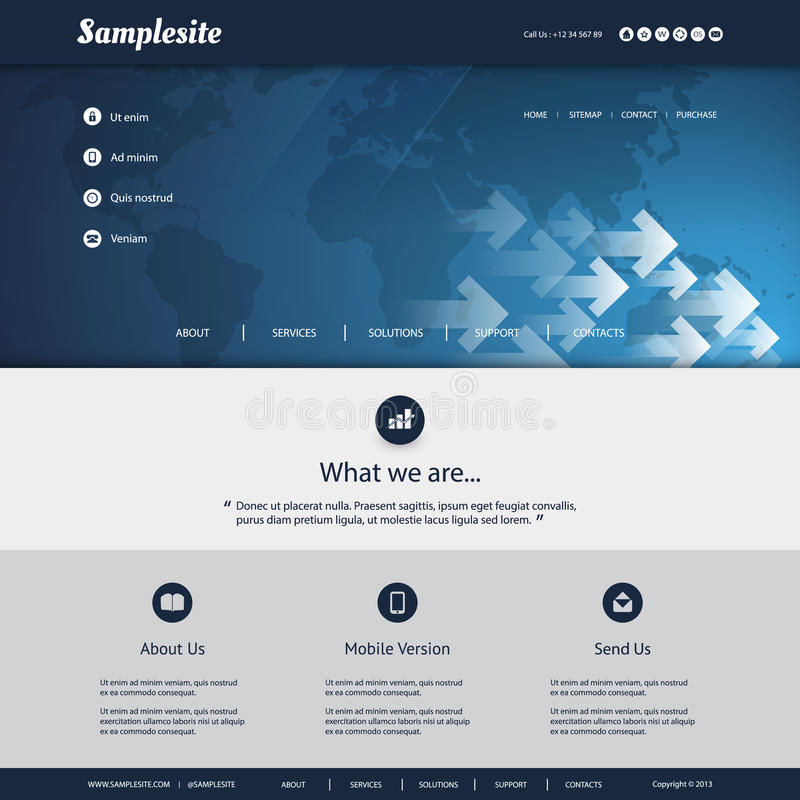 Map Design Website Template: Website Template With World Map And Arrows Pattern Design